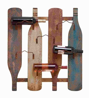 Wood Metal Wall Durable Wine Holder with 6 Bottle Holders Brand Woodland