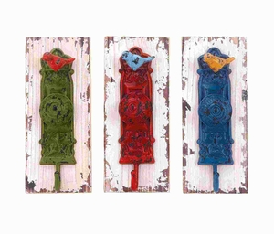 Wood Metal Wall Hook Assorted with Vibrant Colors (Set of 3) Brand Woodland