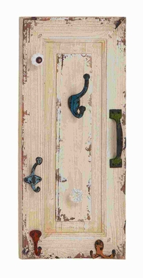 Wood Metal Wall Hook with Utility and Style in Distressed Finish Brand Woodland