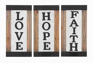 Wood Metal Wall Panel Assorted Elegant Style (Set of 3) Signs Love Faith Brand Woodland