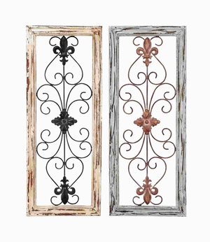 Wood Metal Wall Panel Assorted in Abstract Design (Set of 2) Brand Woodland