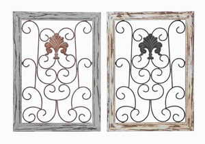 Wood Metal Wall Panel Assorted in Antique Finish (Set of 2) Brand Woodland