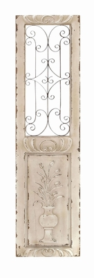 52733 Wood Metal Wall Panel Wall Decor - 52733 by Benzara