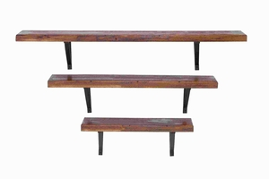 Wood Metal Wall Shelf with a Dark Wood Gratin Finish (Set of 3) Brand Woodland