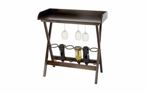 Wood Metal Wine Tray Table For Six Bottles With Glass Holder Brand Woodland