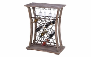 Wood Metal Wines Bar With Useful Accessories Holders Under The Top Brand Woodland