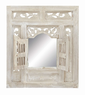 Wood Mirror Decor With Window In Shabby White Look Brand Woodland