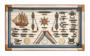 Wood Nautical Shadowbox in Golden Finish with Artistic Design Brand Woodland