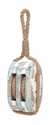 Wood Nautical Wood Pulley With Rope An Antique And Unique Wall Decor Brand Woodland