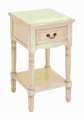 Wood Night Stand in Elegant off White Color with Fine Detailing Brand Woodland