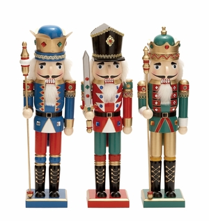 "Wood Nutcracker 3 Assorted 16""H Holiday Decor"