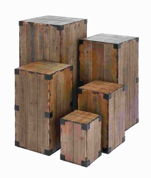 Wood Pedestal with Cuboid Blocks and Defined Edges (Set of 5) Brand Woodland