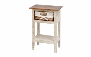 Wood Rattan Accent Table In Shabby White Vintage Look With Two Shelves Brand Woodland