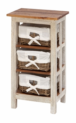 Wood Rattan Cabinet In Shabby White Vintage Look For Space Saving Storage Brand Woodland