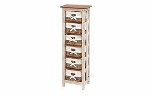 Wood Rattan Cabinet Tall In Shabby White Vintage Look With Separable Basket Brand Woodland