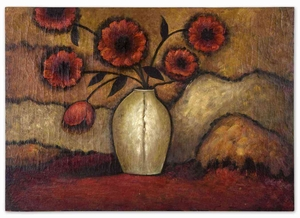 Wood Red Poppies Floral Art in Crackled Finish Brand Uttermost