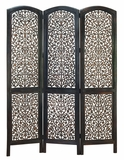 Wood Room Divider 3 Panel Screen Carved with Intricate Detailing Brand Woodland
