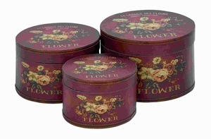 Wood Round Box in Floral Motifs and Maroon Finish (Set of 3) Brand Woodland