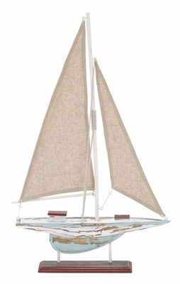 Wood Sail Boat A Stylish Sail Boat Replica For Unique Table Decor Brand Woodland - 38703 by Benzara