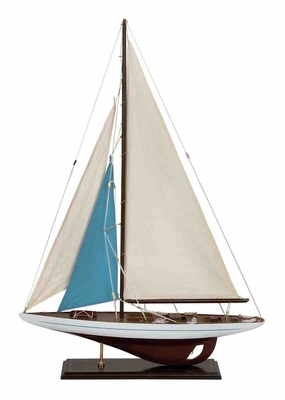 Wood Sailboat in Dark Brown Finish with Artistic Detailing Brand Woodland