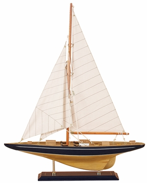Wood Sailboat in White and Brown Finish with Antiqued Design Brand Woodland