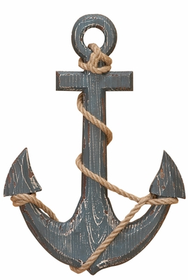 Wood Ship Anchor with Rope, Antique Nautical Decor Ship Anchor Brand Woodland