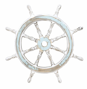 Wood Ship Wheel Nautical Wall Decor In Shabby White And Blue Brand Woodland