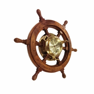 Wood Ships Wheel Clock with Maritime Theme in Light Brown Finish Brand Woodland