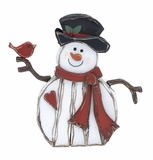 "Wood Snowman w/ Bird & Hat 23""W, 22""H by Woodland Import"
