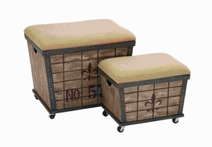 Wood Stool in Elegant Design with Storage Space (Set of 2) Brand Woodland