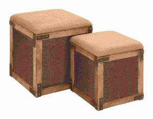 Wood Stool with Extra Storage Space in Chocolate Brown (Set of 2) Brand Woodland