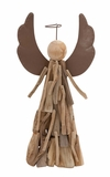 """Wood Style Contemporary Angel w/ Halo 18""""H, 9""""H by Woodland Import"""