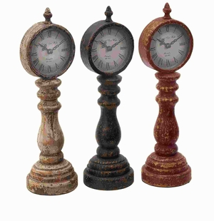 Wood Table Clock Assorted with Antique Charm Look (Set of 3) Brand Woodland