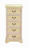 Wood Tall Dresser with Large Storage Capacity in off White Shade Brand Woodland