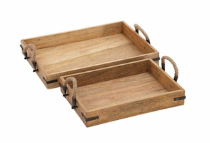 Wood Textured Classy Wood Tray Rohandle by Woodland Import