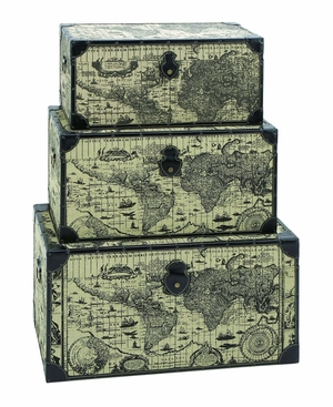 Travel Steamer Trunk Set With Ancient World Map - 53864 by Benzara