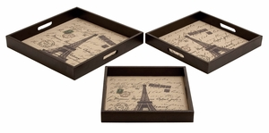 Wood Leather Trays Set/3  Unique Home Accents - 54122 by Benzara