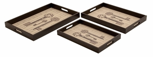 Wood Tray with Leather Lining and the Keys Icon Brand Woodland