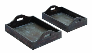 Wood Tray with Two Identically Designed Trays (Set of 2) Brand Woodland