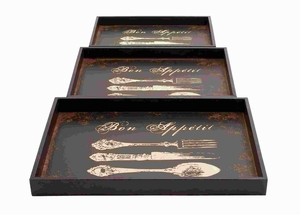 Wood Trays with Urbane Touch To Conventional Designs (Set of 3) Brand Woodland