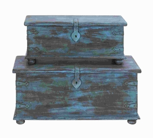 Wood Trunk Antique Design with Faded Blue Paint (Set of 2) Brand Woodland