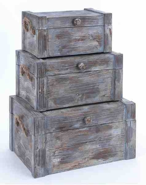 Wood Trunk Designed with Natural Textured Pattern - Set of 3 Brand Woodland