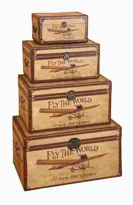 Wood Trunk in Rectangle Shape Crafted with Detailing - Set of 4 Brand Woodland