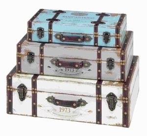 Trunk with Exceptional Looks & Intrinsic Details - Set of 3 - 93776 by Benzara