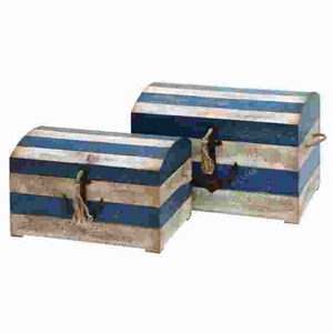 Wood Trunk with Striped Pattern and Anchor Figurine (Set of 2) Brand Woodland