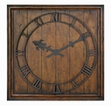 Wood Veneer Wall Clock with Distressed Honey Pecan Finish Brand Uttermost