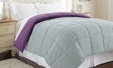 Wood violet/Pearl Blue Queen Size Down Alternative Reversible Comforter�