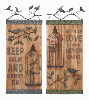 Wood Wall Art Assorted Durable and Long Lasting (Set of 2) Brand Woodland