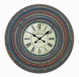 Wood Wall Clock in Circular off White Dial and Blue Roman Numeral Brand Woodland