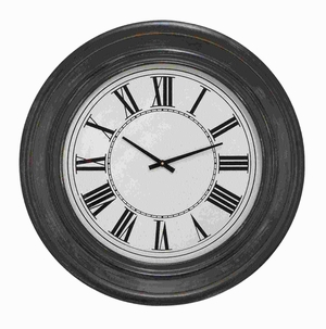 Wood Wall Clock in Dark Brown Finish and Black Roman Numerals Brand Woodland